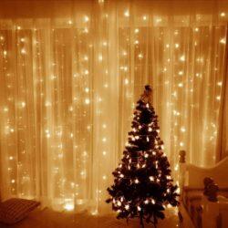 Χριστουγεννιάτικη LED Κουρτίνα Βροχή 320led 18W Λευκό Θερμό