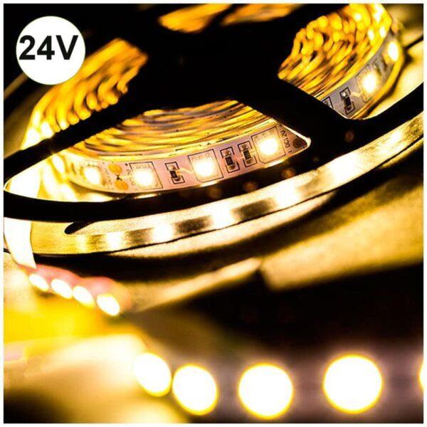 Ταινία LED 14.4W 60LED 5050 24VDC Θερμό Λευκό IP20