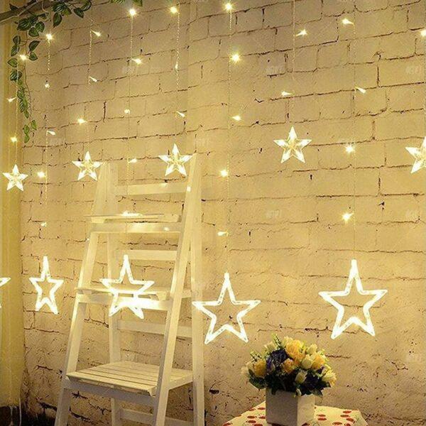 Κουρτίνα LED 8W με αστέρια Θερμό Λευκό