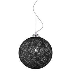 Κρεμαστό Φωτιστικό Σχοινί Μαύρο Μπάλα 1xΕ27