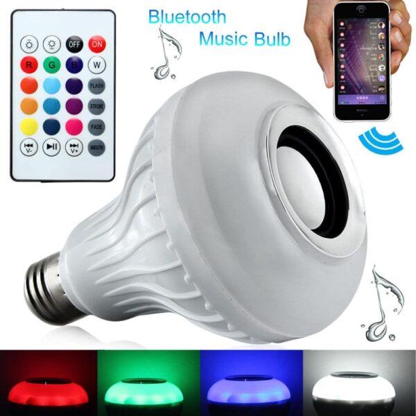 E27 12 Watt Bluetooth με Ηχείο και Ασύρματο Χειριστήριο RGBW