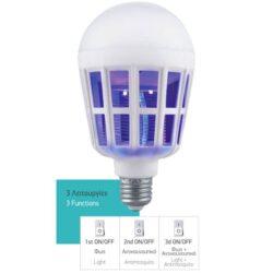 Η Εντομοαπωθητικη Λάμπα Led 10W IP20 Λευκό Ημέρας εκπέμπει φως ημέρας 10W και παράλληλα black-light όπου συγκεντρώνει και σκοτώνει τα κουνούπια με μια μικρή παγίδα. Διαθέτει 3 λειτουργίες