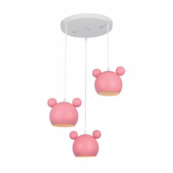 Παιδικό Φωτιστικό Mickey 3xΕ14 Ροζ