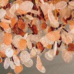 Πολύφωτο 12-Φωτο με Φύλλα από Γυαλί σε Λευκό και Κεχριμπάρι