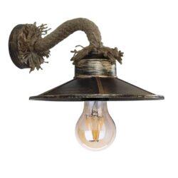 Φωτιστικό Τοίχου Μπρούτζινο Σκουριά με Καπέλο Φ27 ROBLY 01125