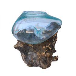 Ξύλινη Ρίζα με Φυσητό γυαλί μέγεθος Small