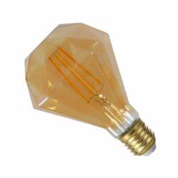 LED E27 Diamond 6W 230V Filament Retro Θερμό Λευκό Μελί Dimmable