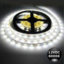 Ταινία LED 12W 60LED 5050 12VDC Λευκό Ψυχρό IP20